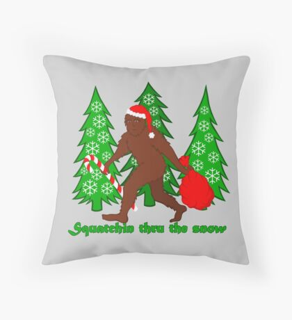 Squatchin Thru The Snow Funny Christmas Bigfoot Throw Pillow