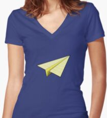 Paper Airplane 10 Women's Fitted V-Neck T-Shirt