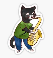Jazzy Boy Kitten Playing Saxophone Sticker