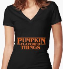 Pumpkin Flavored Things Women's Fitted V-Neck T-Shirt