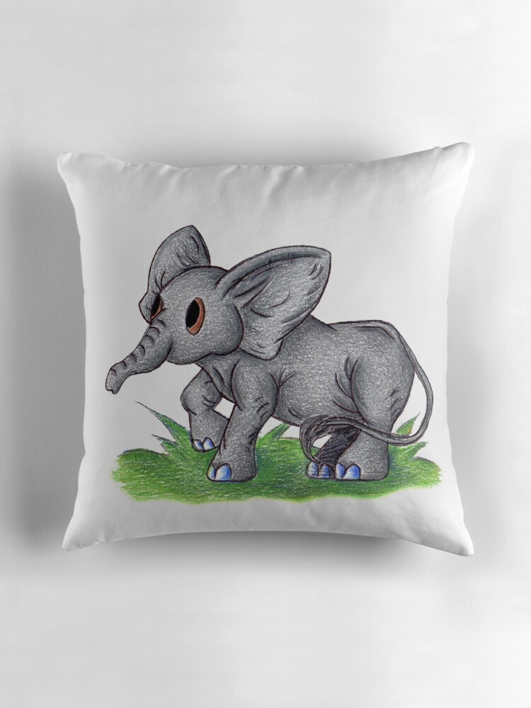 Quot Curious Baby Elephant Quot Throw Pillows By Kokeefeart
