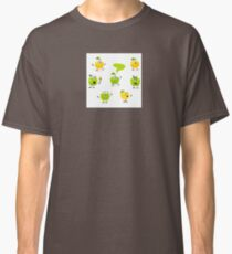 Funny green Apple fruit characters Classic T-Shirt
