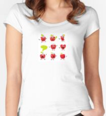 Funny red Apple fruit characters isolated on white background Women's Fitted Scoop T-Shirt