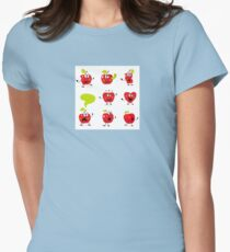 Funny red Apple fruit characters isolated on white background Womens Fitted T-Shirt