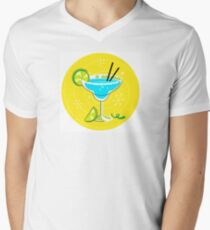 Blue Margarita: Retro cocktail icon on yellow background Men's V-Neck T-Shirt