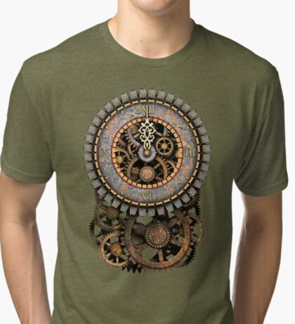 Vintage Steampunk Clock (Stopped at Midnight!...OO-Er!!) Steampunk T-Shirts Tri-blend T-Shirt