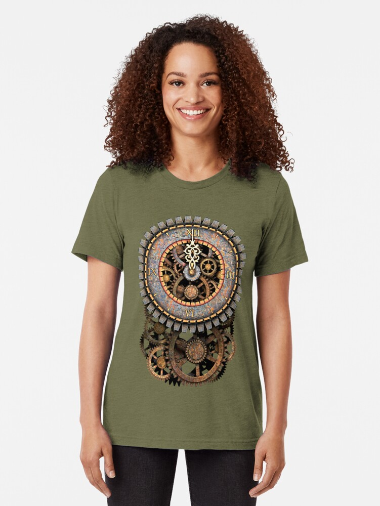 Alternate view of Vintage Steampunk Clock (Stopped at Midnight!...OO-Er!!) Steampunk T-Shirts Tri-blend T-Shirt
