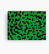 Line Art - The Bricks, tetris style, green and black Canvas Print