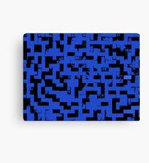 Line Art - The Bricks, tetris style, dark blue and black Canvas Print