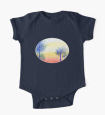 Sunset with Blue Trees One Piece - Short Sleeve