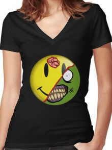 Zombie Happy Face Women's Fitted V-Neck T-Shirt