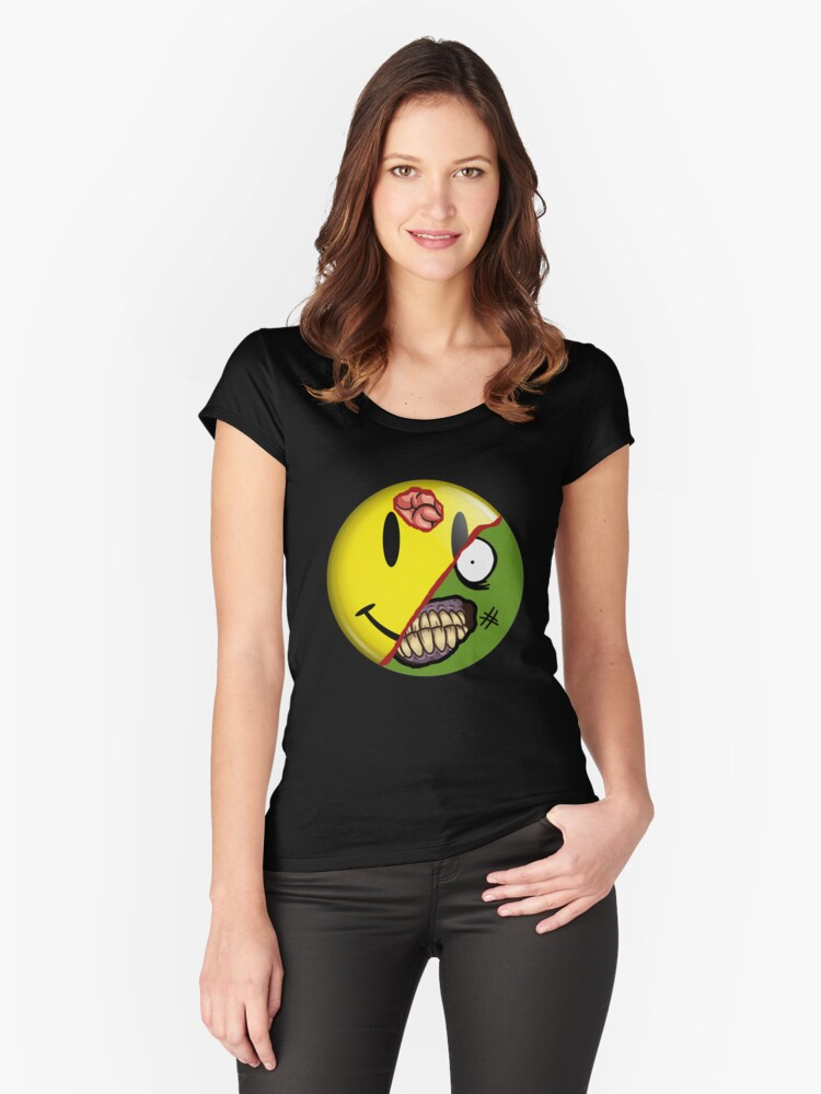 Zombie Happy Face Women's Fitted Scoop T-Shirt Front