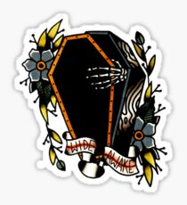 Skeleton Coffin Flower Traditional Tattoo Design Sticker