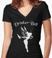 DrinkerBell Light Women's Fitted V-Neck T-Shirt