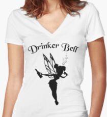 DrinkerBell Dark Women's Fitted V-Neck T-Shirt