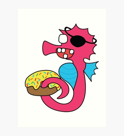zombie pirate seahorse dangles a donut Art Print