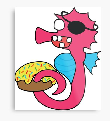 zombie pirate seahorse dangles a donut Metal Print
