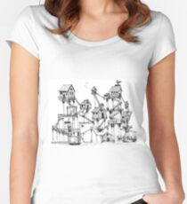 Houses at stilts at the water. Maze- like illustration. Women's Fitted Scoop T-Shirt