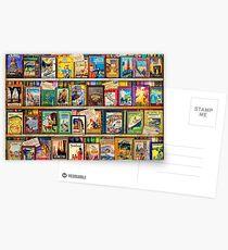 Travel Guide Book Shelf Postcards