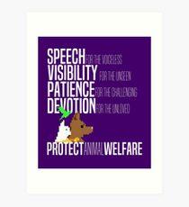 Protect Animal Welfare (white text) Art Print