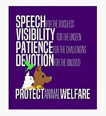 Protect Animal Welfare (white text) Photographic Print