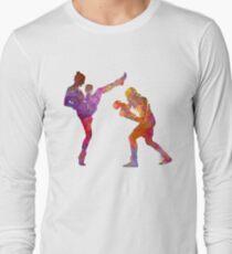 Woman boxwe boxing man kickboxing silhouette isolated 01 Long Sleeve T-Shirt