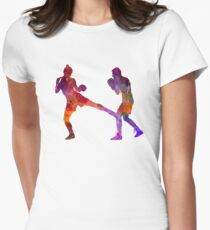 woman boxer boxing man kickboxing silhouette isolated 02 Womens Fitted T-Shirt