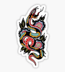 6e05a236b Traditional Snake and Geometric Flowers Tattoo Design Sticker