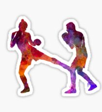 woman boxer boxing man kickboxing silhouette isolated 02 Sticker