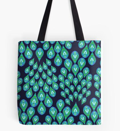 NAVY PEACOCK 111 ALL OVER PRINT Tote Bag