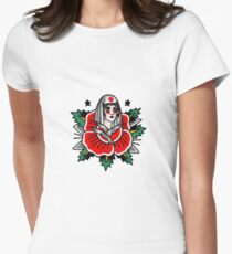 Camiseta entallada para mujer Tradicional Rose Pin Up Enfermera Tattoo Design
