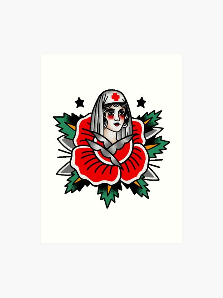 b99d55f1cd1c3 Traditional Rose Pin Up Nurse Tattoo Design