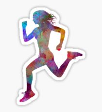 Woman runner running jogger jogging silhouette 01 Sticker