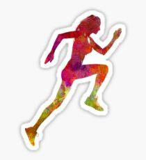 Woman runner running jogger jogging silhouette 02 Sticker