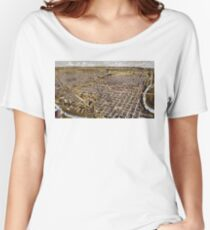 Perspective map of Fort Worth, Texas - 1891 Women's Relaxed Fit T-Shirt
