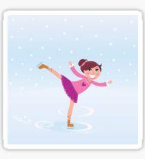 Illustration of figure skating small girl training on Ice Sticker