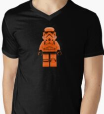 Orange Lego Storm Trooper Mens V-Neck T-Shirt