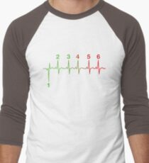 Motorcycle Shifting Gears Life Line Heartbeat Six Speed Rev Tee Shirt Men's Baseball ¾ T-Shirt