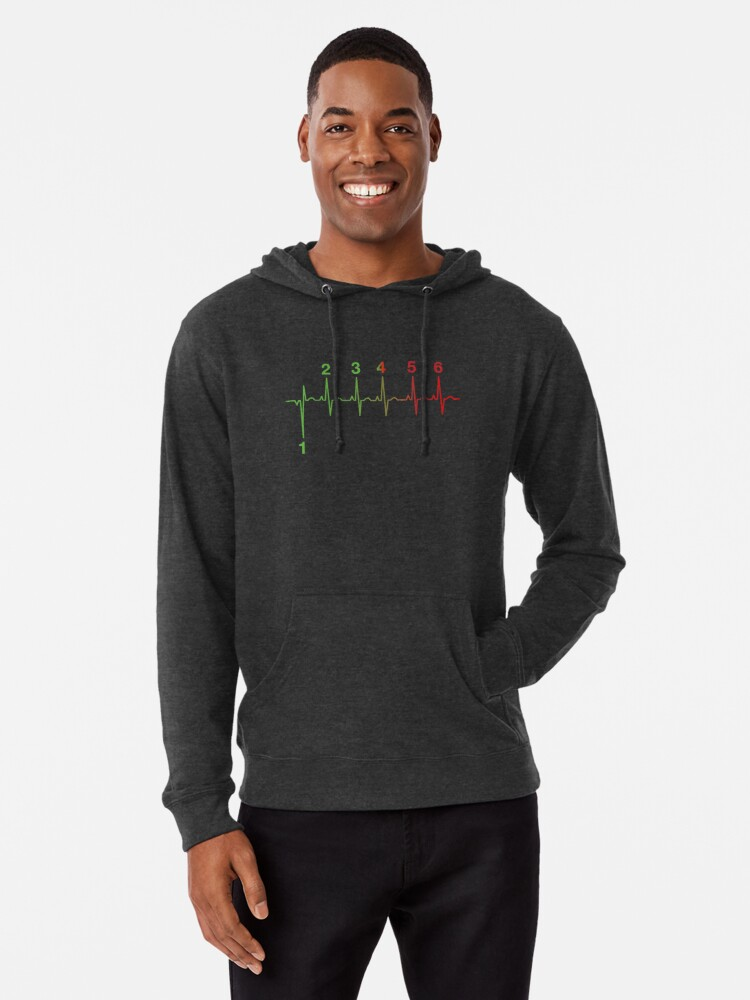 'Motorcycle Shifting Gears Life Line Heartbeat Six Speed Rev Tee Shirt'  Lightweight Hoodie by lolotees