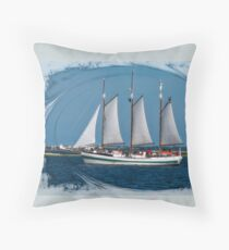 Large Sailboat in Charleston, SC Bay Throw Pillow