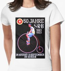 BICYCLE RACES; Jahre Vintage Advertising Print Womens Fitted T-Shirt