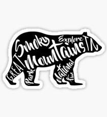 SMOKY MOUNTAINS NATIONAL PARK BEAR TYPOGRAPHY SILHOUETTE TENNESSEE SMOKIES Sticker