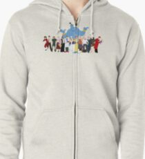 NO BACKGROUND Even More Minimalist Robin Williams Character Tribute Zipped Hoodie