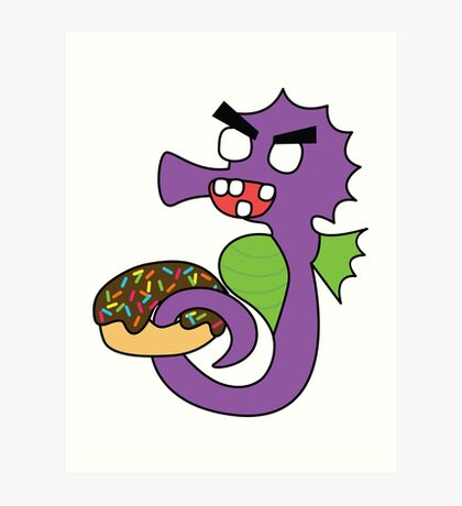 zombie seahorse dangles a donut Art Print