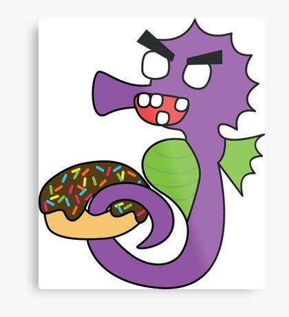 zombie seahorse dangles a donut Metal Print