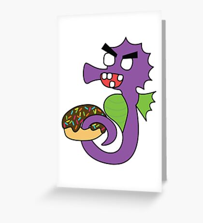 zombie seahorse dangles a donut Greeting Card