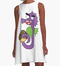 zombie seahorse dangles a donut A-Line Dress
