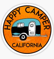CAMPING HAPPY CAMPER CALIFORNIA TRAILER RV RECREATIONAL VEHICLE Sticker