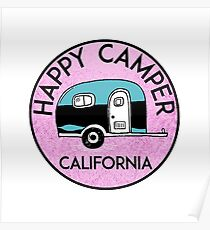 CAMPING HAPPY CAMPER CALIFORNIA TRAILER RV RECREATIONAL VEHICLE 2 Poster