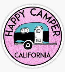 CAMPING HAPPY CAMPER CALIFORNIA TRAILER RV RECREATIONAL VEHICLE 2 Sticker